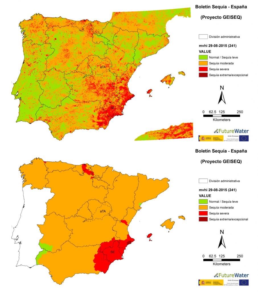Figure 3. Drought Severity Levels for the Multitemporal Vegetation Health Index computed at 29/08/2015. Spatially-distributed map (top panel) or aggregated according to the Spanish water resource systems (low panel).