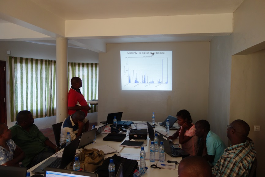Group presentation: showing graph with monthly rainfall for the Buzi River Basin.