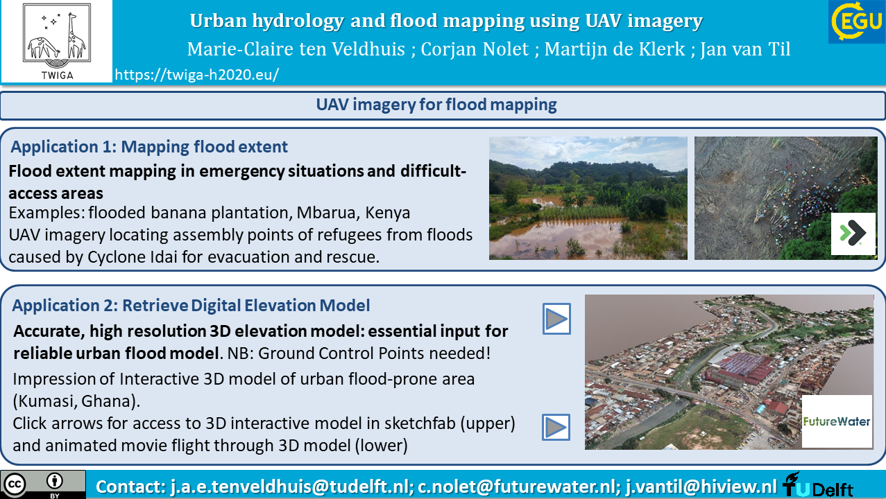 Example applications of UAV imagery for flood mapping